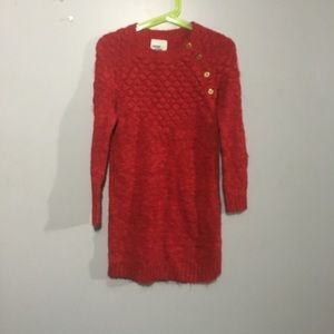 Girls red sweat dress never horn Size 5T
